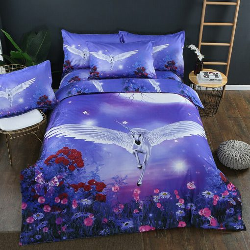 Unicorn Fly Quilt Cover Set, girls (Queen)