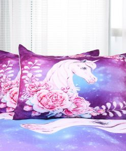 Unicorn Wreath Quilt Cover Set, girls (King)