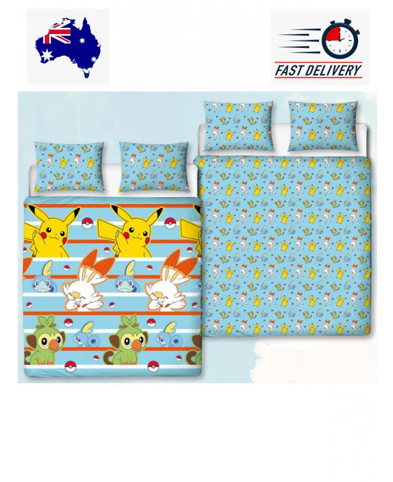 Pokemon Blue Double/Queen Quilt Doona Duvet Cover Set