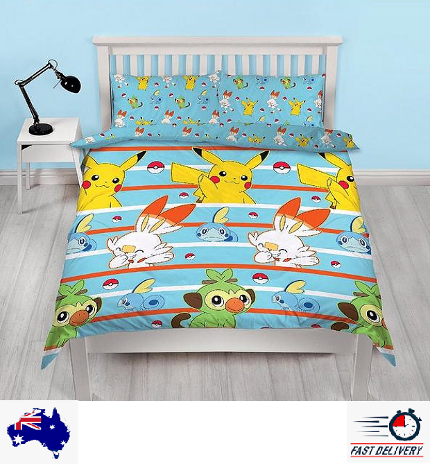 Pokemon Blue Double/Queen Quilt Doona Duvet Cover Set