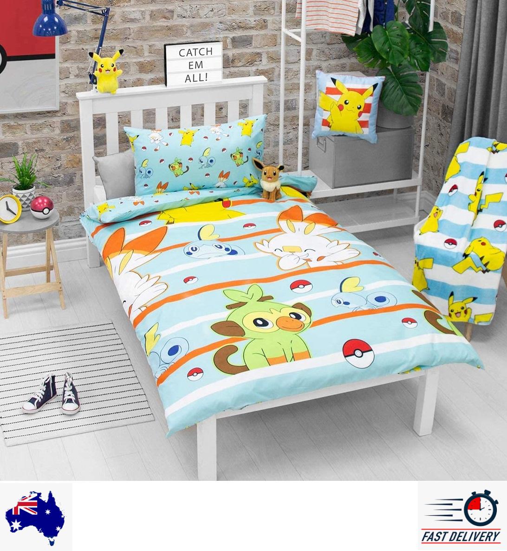Pokemon Blue Single Quilt Doona Duvet Cover Set