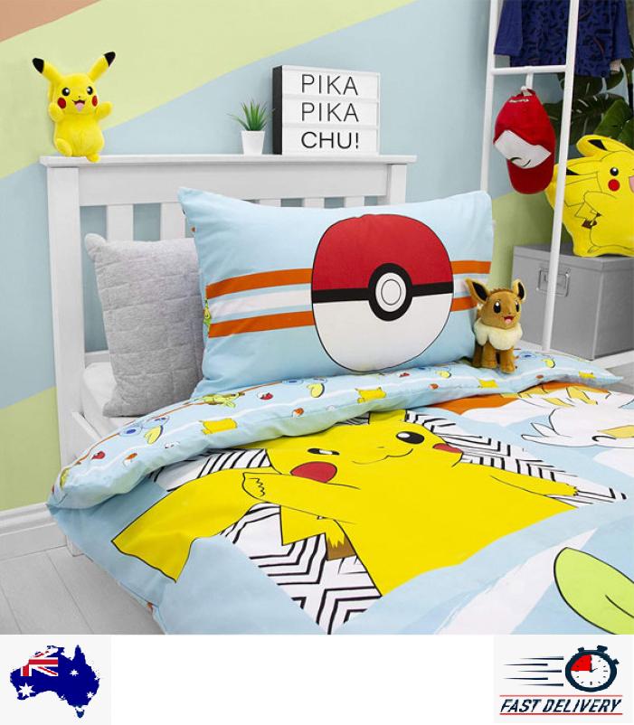 Pokemon pikachu cotton blend close up quilt cover