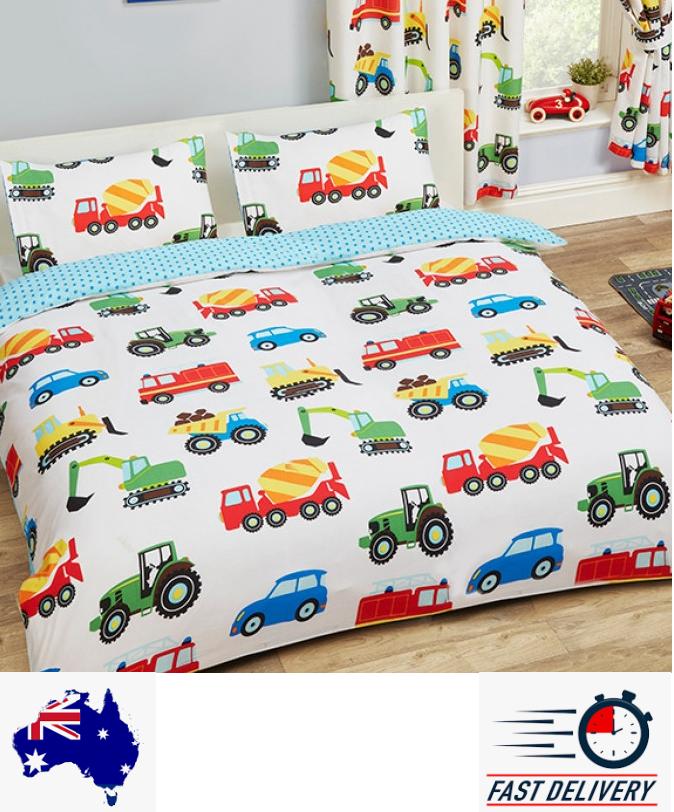 Truck Roadworks Quilt Doona Duvet Cover Set