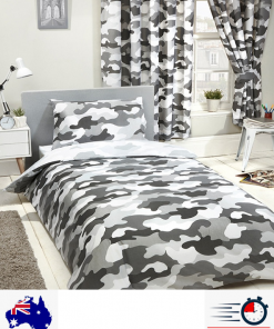 Army Grey Camouflage Single Quilt duvet doona Cover Set