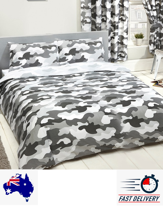 Army Grey Camouflage Double queen Quilt duvet doona Cover Set