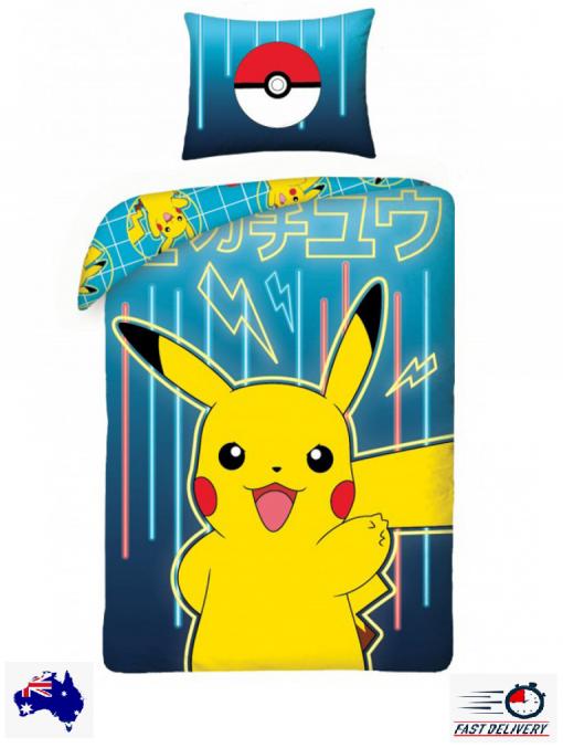 Pokemon Pikachu 100% Cotton Quilt Doona Duvet Cover Set