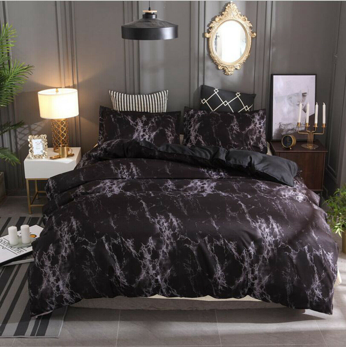 Marble Black - Single/Double/Queen/King/Super King - Quilt Cover Set