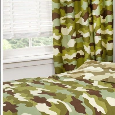 Army Camouflage Curtain Set with tie backs sizes ideal with doona quilt duvet
