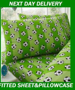 Boys Soccer Football Single Fitted Sheet Pillowcase