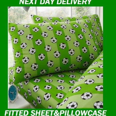 Boys Soccer Football Single Fitted Sheet Pillowcase Set