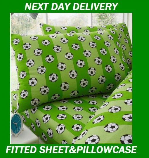 Boys Soccer Football Single Fitted Sheet Pillowcase