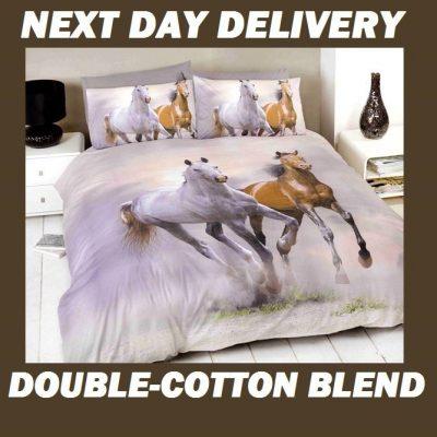 Galloping Horses Quilt Duvet Doona Bedding Cover Sets