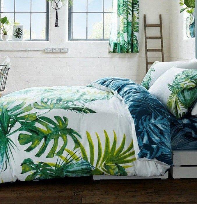 Palm Leaves Tree Tropics Botanical Double Doona Quilt
