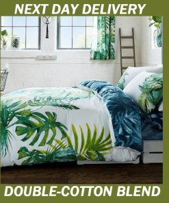 Palm Leaves Tree Tropics Botanical Double Doona Quilt Duvet Cover Set