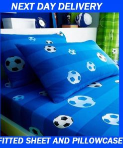 Boys Soccer Football Duvet Quilt Blue Single Fitted Sheet Pillowcase Set