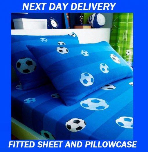 Boys Soccer Football Duvet Quilt Blue Single Fitted Sheet Pillowcase Set