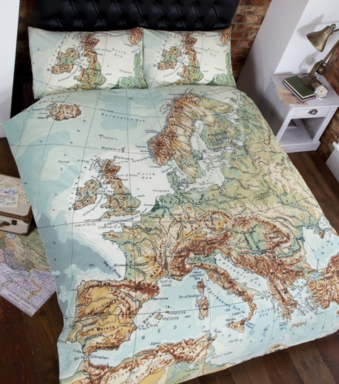 Paris London Rome Europe Double Quilt Doona Duvet Bedding Cover Set, World  Map