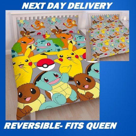 Pokemon Catch Queen Kids Licensed Quilt Duvet Bedding Cover Sets