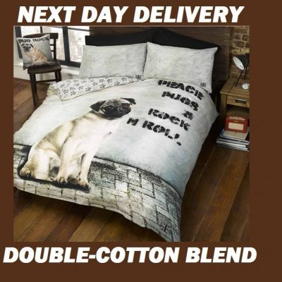 Pug Puppy Double Kids Licensed Quilt Duvet Bedding Cover Sets