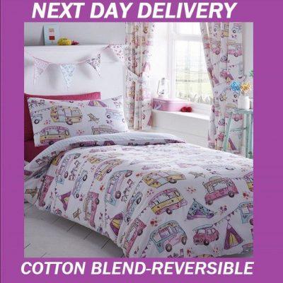 Campervan Camper Single Duvet Doona Quilt Bedding Cover Set