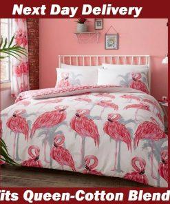 Pink Flamingo Queen Quilt Cover Set