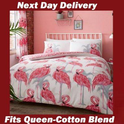 Pink Flamingo Fits Queen Quilt Cover Set