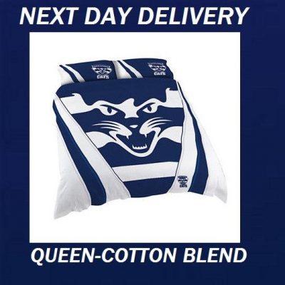 Geelong Cats AFL Queen Cotton Blend Quilt Duvet Doona Cover Set
