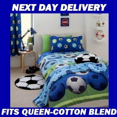 Boys Soccer Football Queen Kids Licensed Duvet Bedding Cover Sets