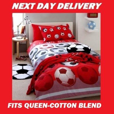 Soccer Football Queen Kids Licensed Quilt Duvet Bedding Cover Sets