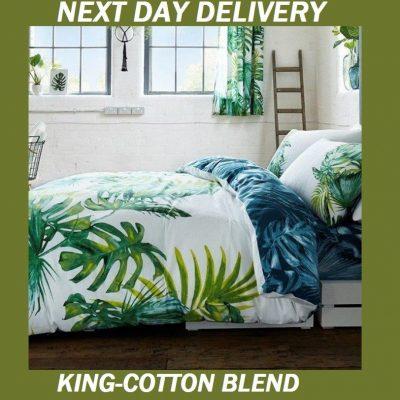 Palm Leaves Tree Tropics King Doona Cover Set Duvet Quilt