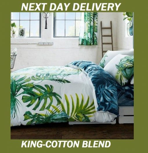 Palm Leaves Tree Tropics King Doona Cover Set Duvet Quilt