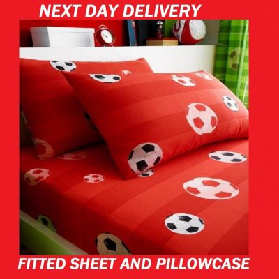 Boys Soccer Football Red Single Fitted Sheet Pillowcase Set