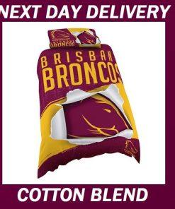 Brisbane Broncos Licensed NRL Quilt Duvet Doona Bedding Cover Sets