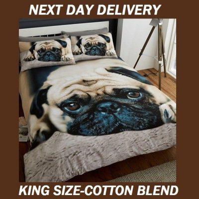 Pug Puppy Pooch Dog Pup Animal Print King Doona Duvet