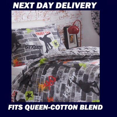 Skateboard Graffiti Queen Kids Licensed Quilt Duvet Bedding Cover Sets