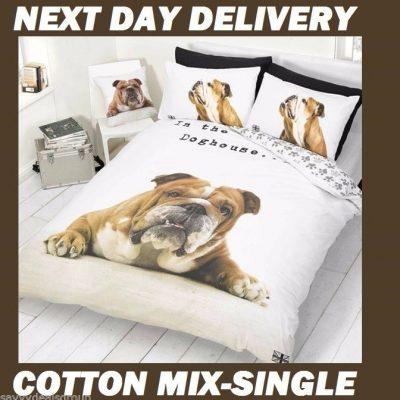 Bulldog Puppy Pooch Kids Licensed Quilt Duvet Bedding Cover Sets