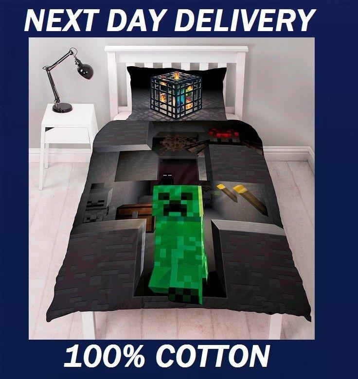Minecraft Duvet Cover Single Kids Doona Quilt Bedding