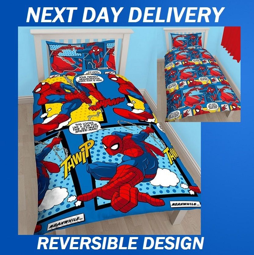 Spiderman Marvel Comics Kids Licensed Quilt Duvet Bedding ...