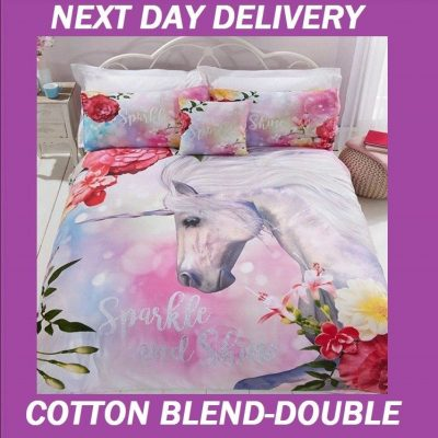 Unicorn Fairy Duvet Double Quilt Doona Bedding Cover Set
