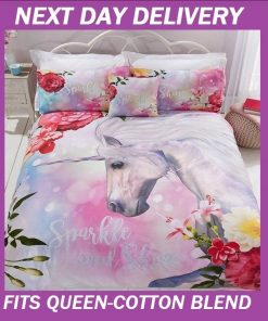 Unicorn Fairy Duvet Queen Doona Quilt Bedding Cover Set