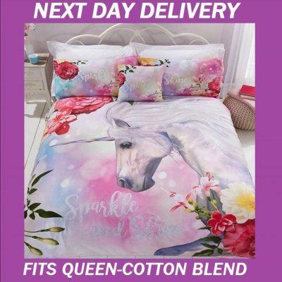 Unicorn Fairy Duvet Queen Doona Quilt Bedding Cover Set