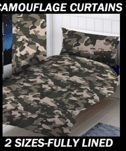 Army Camouflage Curtain Set Duvet Doona Quilt Bedding Cover Set