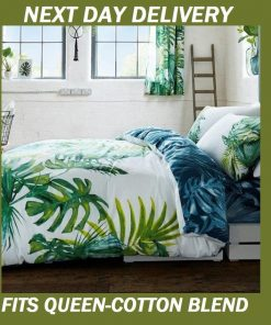 Palm Leaves Tree Tropics Fits Queen Doona Quilt Duvet Cover Set