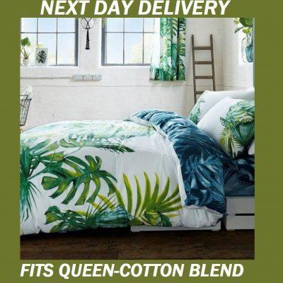 Palm Leaves Tree Tropics Fits Queen Doona Quilt Duvet Cover Set