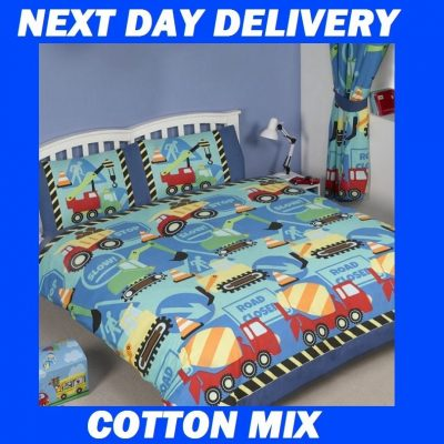 Boys Truck Construction Double Kids Licensed Duvet Bedding Cover Sets