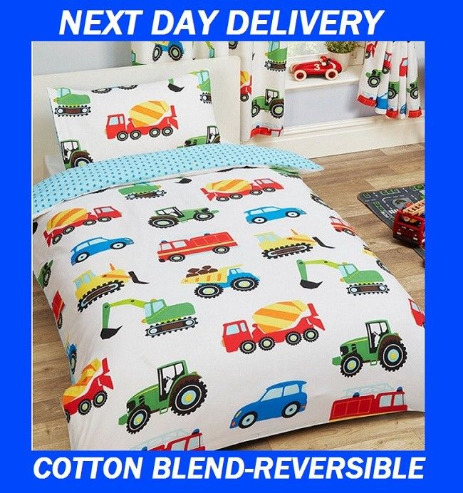 Boys Truck Construction Quilt Cover Set Reversible