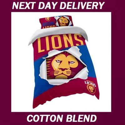 Brisbane Lions Licensed AFL Quilt Duvet Doona Bedding Cover Sets