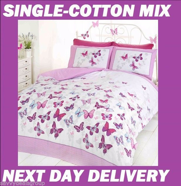 Butterfly Girls Quilt Cover Set Cotton Blend Savvy