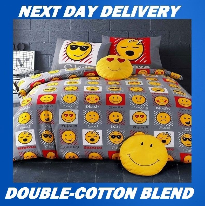 emoji expressions double kids licensed quilt duvet bedding. Black Bedroom Furniture Sets. Home Design Ideas