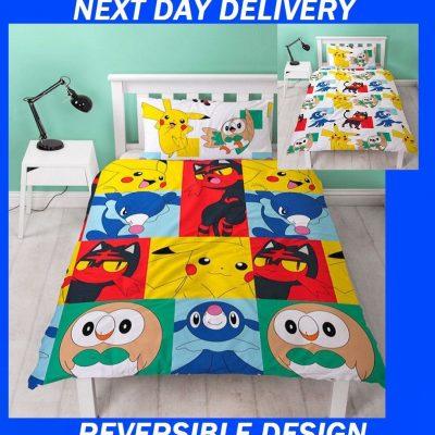 Pokemon Kids Duvet Single Doona Quilt Bedding Reversible Cover Set